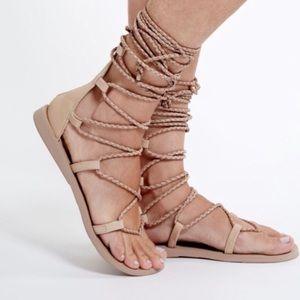 Jeffrey Campbell Cream Lace Up Sandals Size 7.5